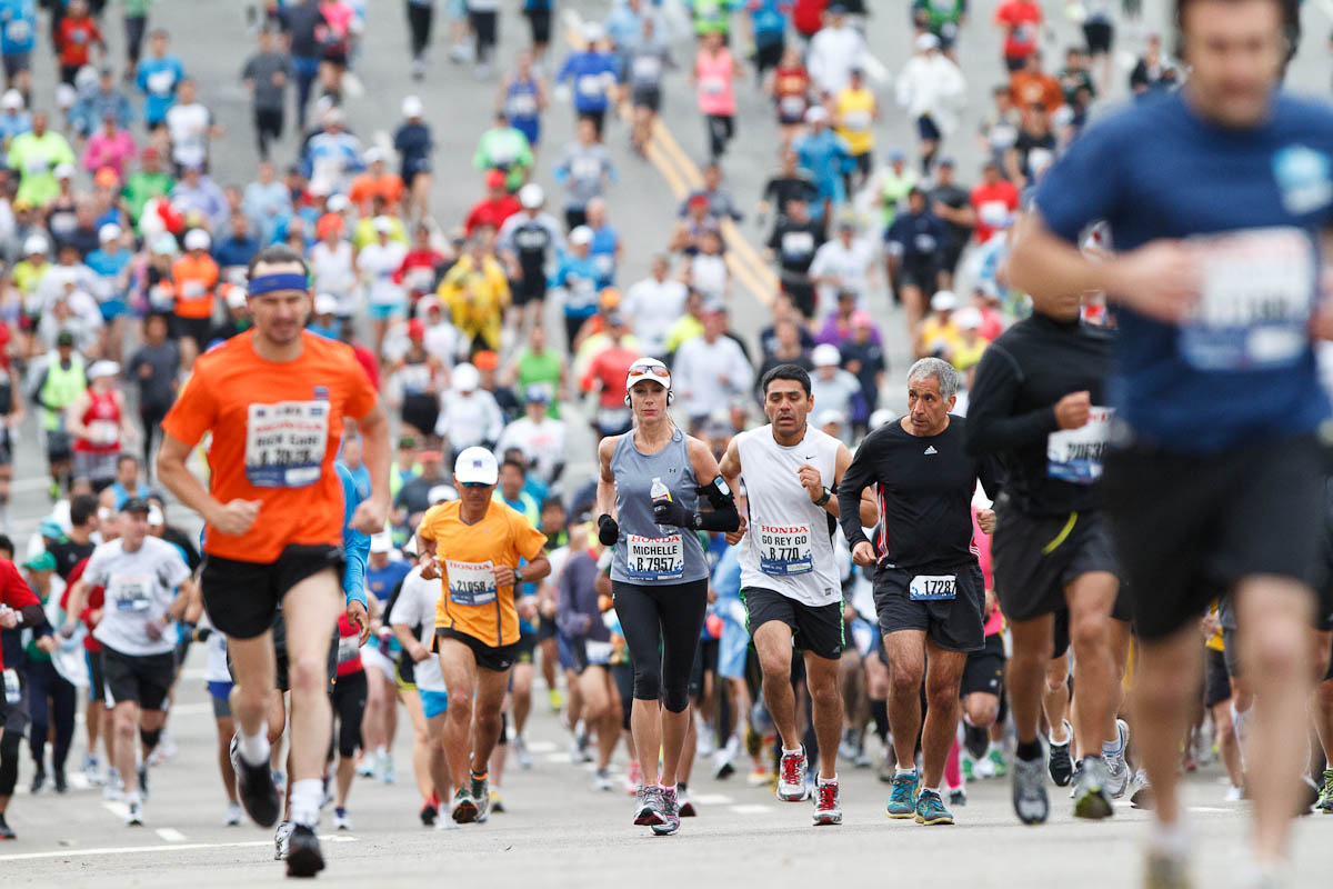 Runners on the course of the 2012 Honda LA Marathon on March 18, 2012 in Los Angeles. Michael Yanow/Corsair